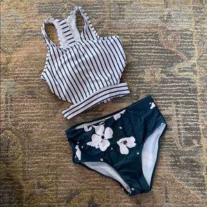 Other - Two Piece Floral and Stripe Swimsuit, Size Small